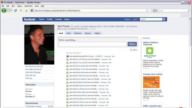 Janijev portal Facebook z napisom, da išče dekleta za delo. (foto: govori.se)
