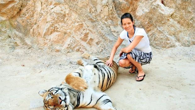 Miša se je čudila, kako trdo dlako imajo tigri. (foto: osebni arhiv)