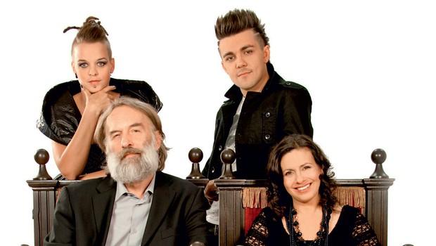 Sodniki šova Misija Evrovizija so Darja Švajger, Tina Marinšek, Jonas Žnidaršič in Raay (foto: Žiga Culiberg)