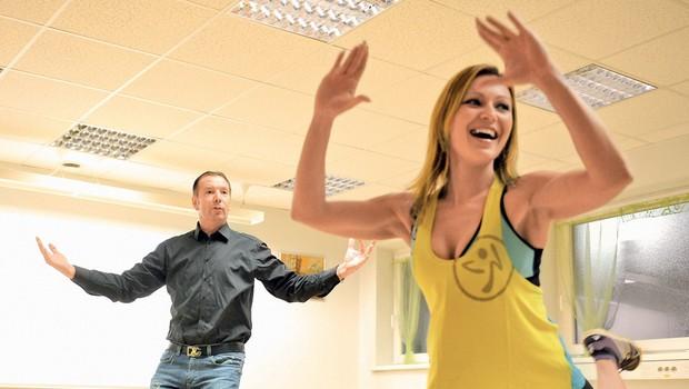 Gianni Rijavec pleše zumbo (foto: Primož Predalič)