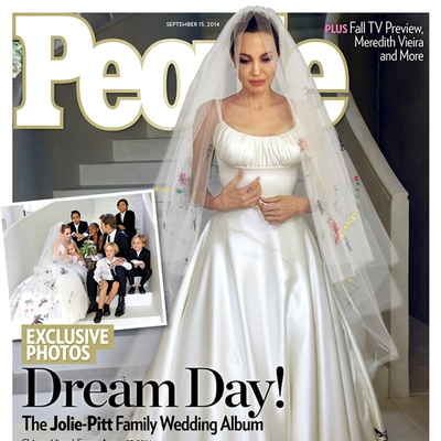 Angelini otroci počečkali poročno obleko