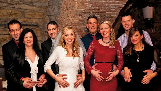 Na tej fotografiji,  nastali na poroki  vinske kraljice Andreje  Erzetič, so sami  noseči pari.   (foto: Nova Press)