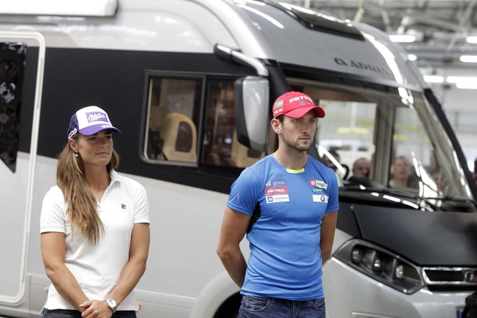 Tina Maze in Jakov Fak dobila na uporabo avtodome Adrie Mobil! (foto: Adria Mobil)