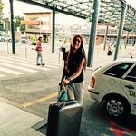 Pia na ljubljanskem letališču, na poti v Beograd, mesto, ki jo je tako navdušilo, da bi se tja celo preselila v prihodnosti. (foto: osebni arhiv, Alpe)