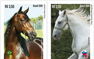 Pošta Brazilije je izdala spominski znamki z motivom lipicanca in brazilskega konja pasme mangalarga marchador