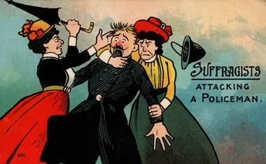 Tipična karikatura sufražetk, ki sovražijo moške, še posebno policiste.