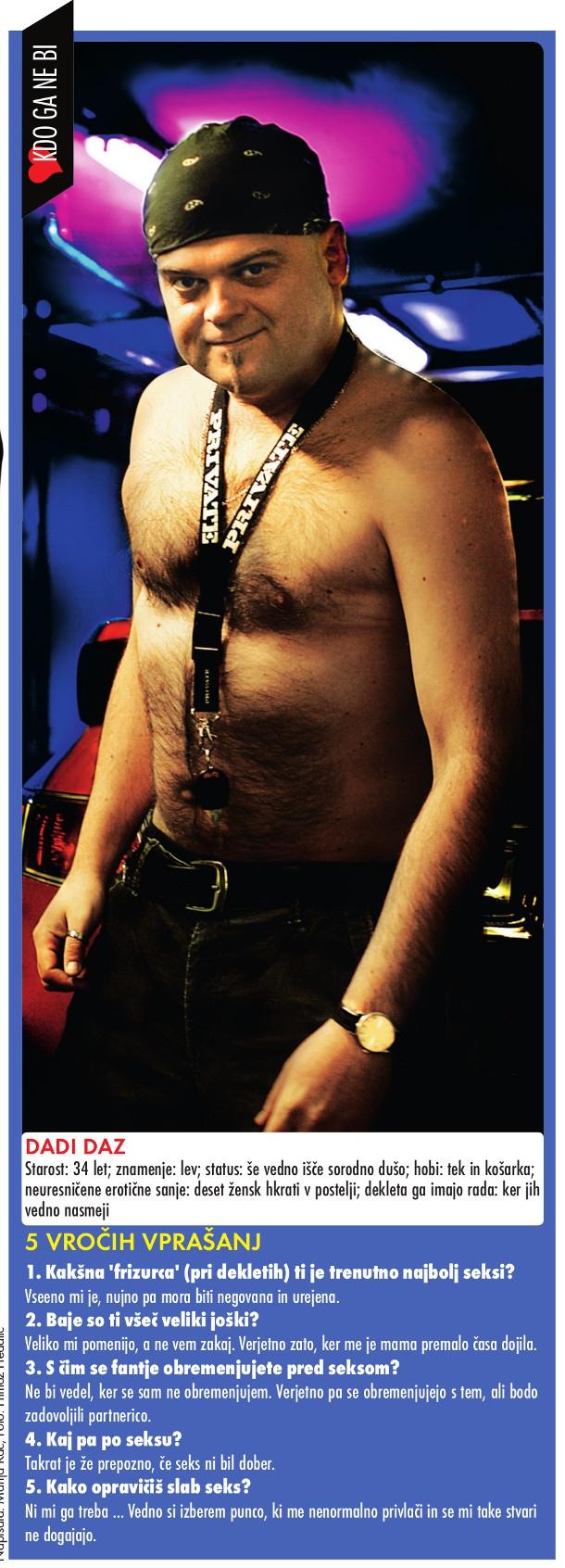 Dadi Daz v Novini rubriki iz leta 2008 Kdo ga ne bi! (foto: retro Nova)