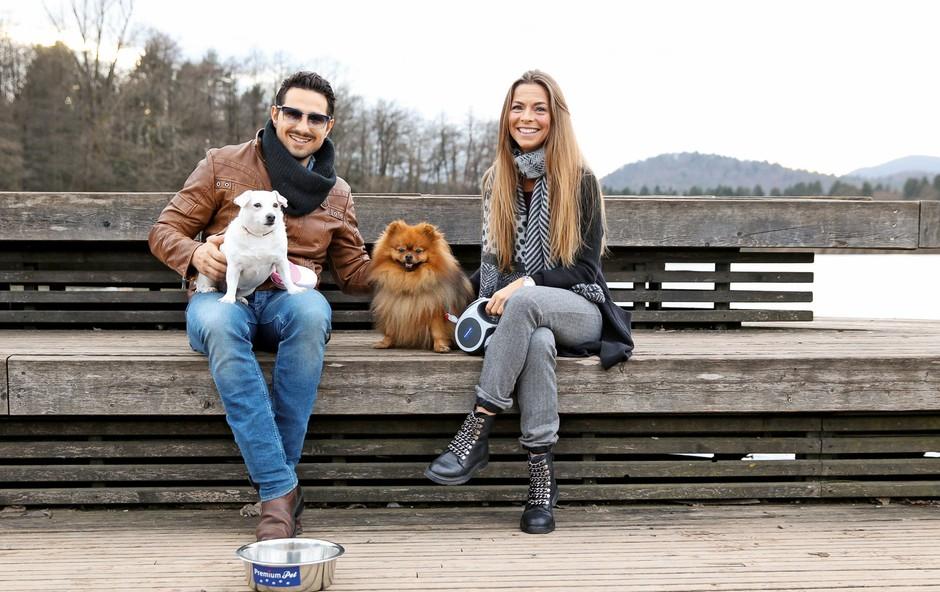 Azra in Jernej – ljubitelja psov: Skupaj na bajerju (foto: osebni arhiv)