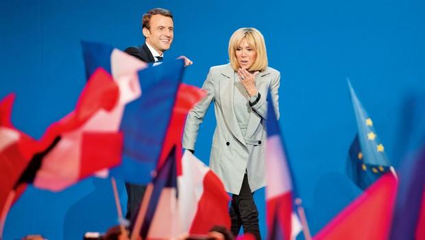 Francoski predsednik Emmanuel Macron  s 24 let starejšo soprogo Brigitte Trogneux (foto: Shutterstock)