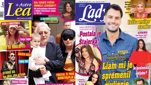 Lea o boju Oliverja Dragojevića s tumorjem, Lady pa o postavnem Davidu Urankarju, ki mu je sinček spremenil življenje! (foto: revija Lady, revija Lea)