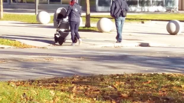 Tanja Žagar z Mikijem in Karlom na sprehodu (foto: N.  Divja)
