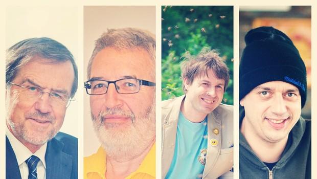 Udeleženci okrogle mize - Pislakov dan: Lojze Peterle, Boris Seražin, Boštjan Noč in Rok Terkaj. (foto: Press)