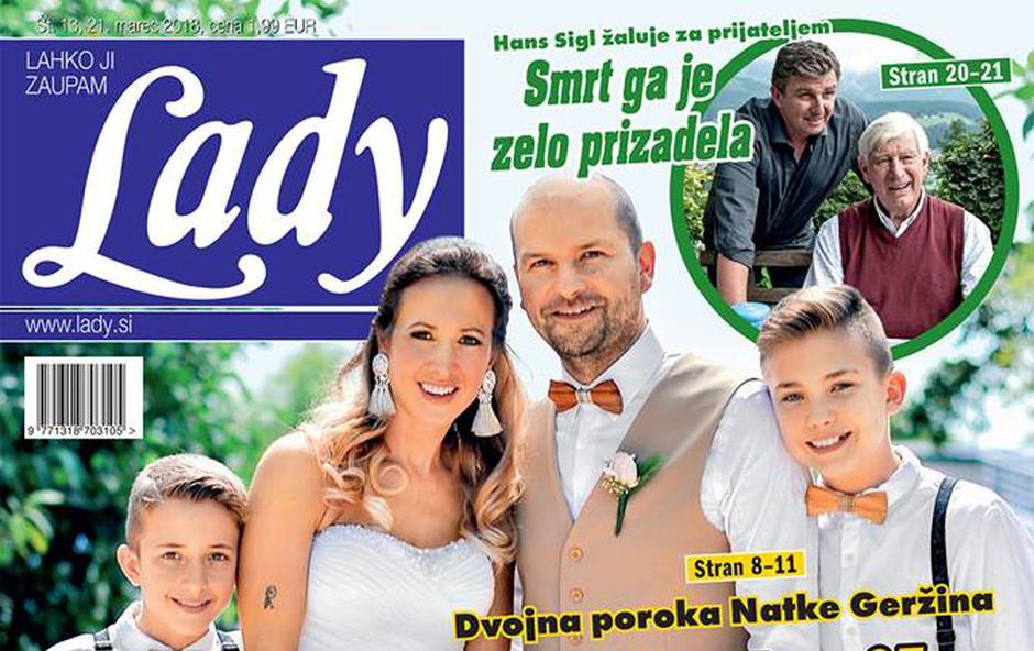Dvojna poroka Natke Geržina: Z bratom dahnila usodni da! Več v novi Lady! (foto: Lady)