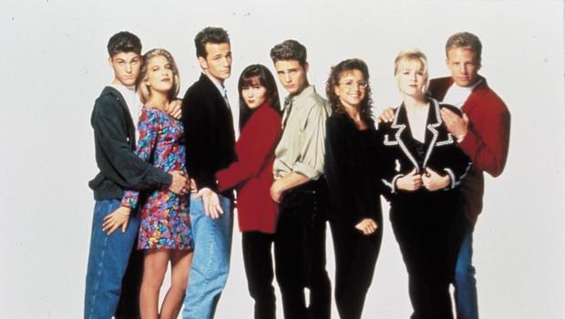 Brian Austin Green, Tori  Spelling, Luke Perry, Shannen  Doherty, Jason Pristley, Gabrielle  Carteris, Jeannie Garth in Ian  Ziering. (foto: PROFIMEDIA)