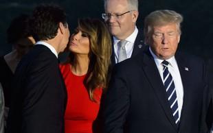 Slika, o kateri se govori: Melania Trump je Justina Trudeauja pozdravila nadvse prisrčno