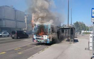 Za Bežigradom zagorel mestni avtobus številka 14