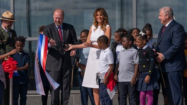 Melania Trump odprla prenovljeni Washingtonov spomenik v ameriški prestolnici (foto: Profimedia)