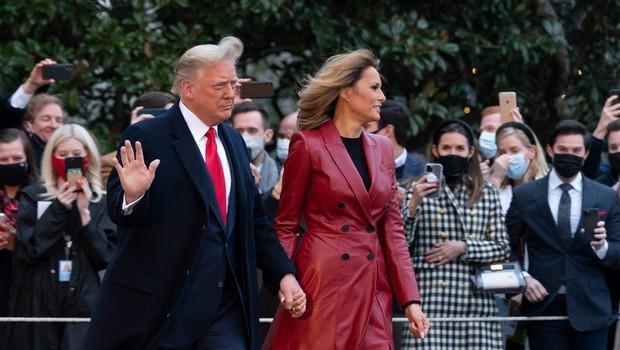 Melania in Donald Trump verjetno še nikoli nista bila tako stilsko usklajena, poglejte si ju (foto: Profimedia)