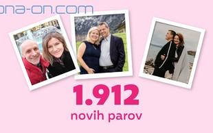 Spletna ljubezen: Na ONA-ON.COM v 2020 kar rekordnih 1.912 novih parov!